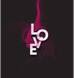 cut paper letters word love on red vector image