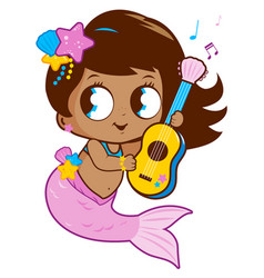 Cute mermaid playing music with her guitar vector