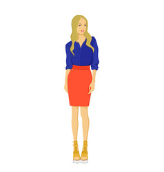 Cute young woman in bright skirt and shirt vector