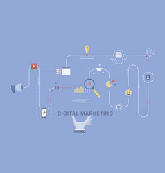 digital marketing process background vector image