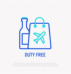 Duty free thin line icon vector