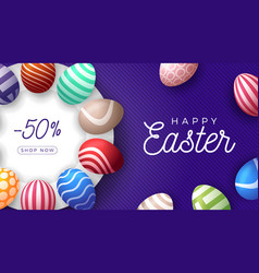 easter egg horizontal banner easter card vector image