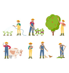 Farmer people with pig and cow vector