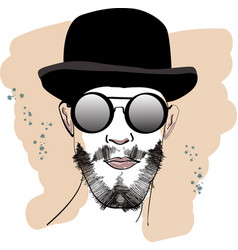 fast fashion sketch with guy in glasses and hat vector image