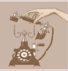 female hand man with retro phone vector image