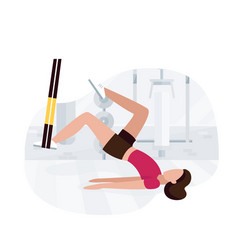 Fit woman working out on trx doing bodyweight vector