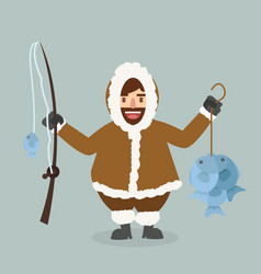 Funny eskimo cartoon fisherman vector