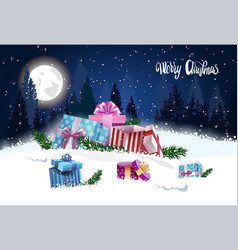 gift boxes in winter forest merry christmas vector image
