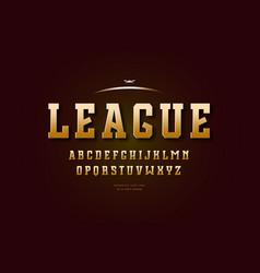 golden colored slab serif font vector image