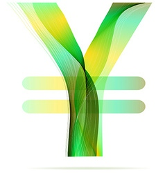 Green abstract Yen sign vector image