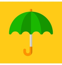 Green Umbrella Icon in Flat Design Style vector image