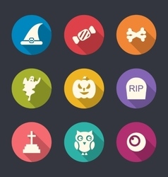 Halloween Flat Icons Set Over Pink vector