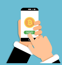 Hand holding smartphone with bitcoin symbol on vector