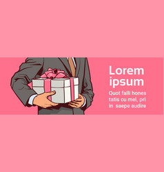 Hands business man hold gift present box vector