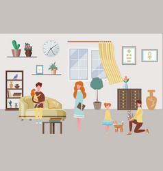 happy family characters at home interior parents vector image