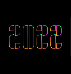 Happy new 2022 year holographic number 2022 bold vector