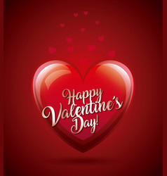 happy valentines day card glowing heart lovely vector image