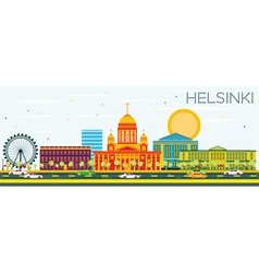 Helsinki Skyline with Color Buildings vector image vector image