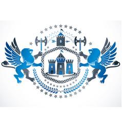 Heraldic coat arms decorative emblem created vector