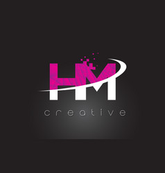 hm h m creative letters design with white pink vector image