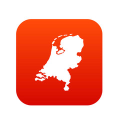 holland map icon digital red vector image