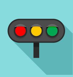 Horizontal traffic lights icon flat style vector