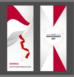 Indonesia happy independence day confetti vector