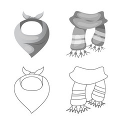 Isolated object of scarf and shawl symbol set of vector