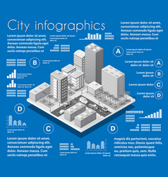 isometric city map industry infographic set vector image