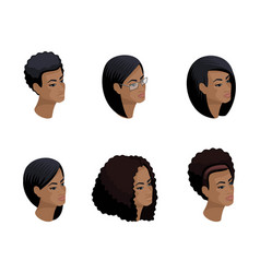 isometric icons head hairstyles 3d emotions vector image