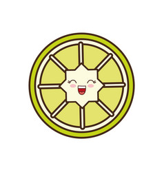 Kawaii lemon slice icon vector