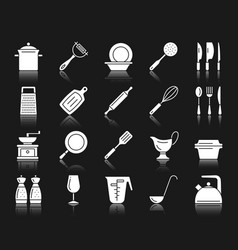 kitchenware white silhouette icons set vector image