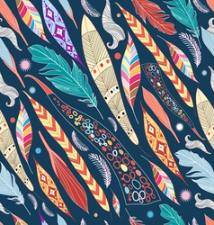 leaves and feathers pattern vector image
