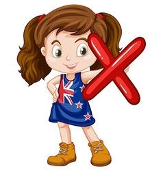 Little girl holding letter X vector