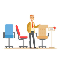 Man choosing comfortable office armchair smiling vector