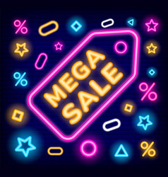 mega sale in stores neon board with promotion vector image
