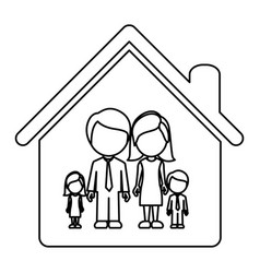 monochrome contour of faceless family group in vector image