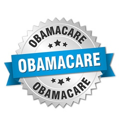 Obamacare 3d silver badge with blue ribbon vector
