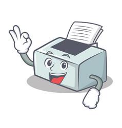 Okay printer character cartoon style vector