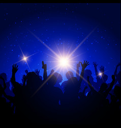 party crowd on night sky background vector image