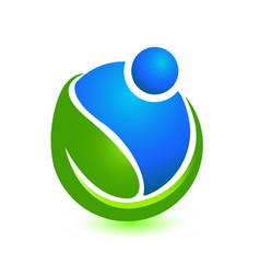 People caring and helping the environment icon vector