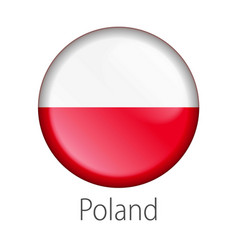 Poland round button flag vector