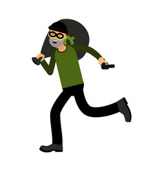 Professional masked robber character running with vector