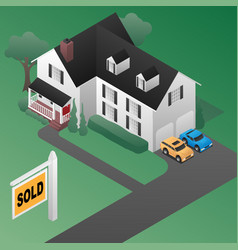 Real estate sold sign with house isometric 3d styl vector
