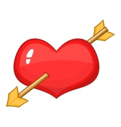 Red heart with arrow icon cartoon style vector image