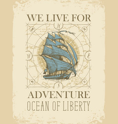 retro travel banner with sailing ship old map and vector image