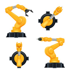 Robotic arms industrial machinery factory vector