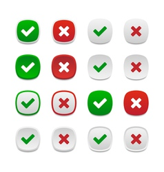 Rounded square validation buttons vector image