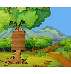 Scene with wooden signs in the jungle vector