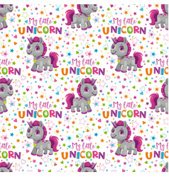 seamless pattern with cute cartoon unicorn toy vector image